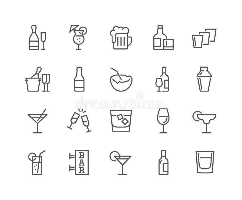 De Pictogrammen van de lijnalcohol vector illustratie