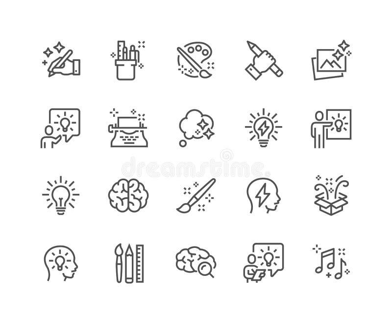 De Pictogrammen van de lijncreativiteit stock illustratie