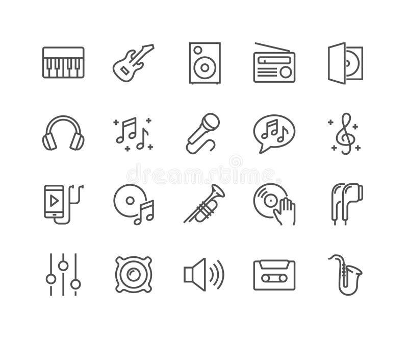 De pictogrammen van de lijnmuziek stock illustratie