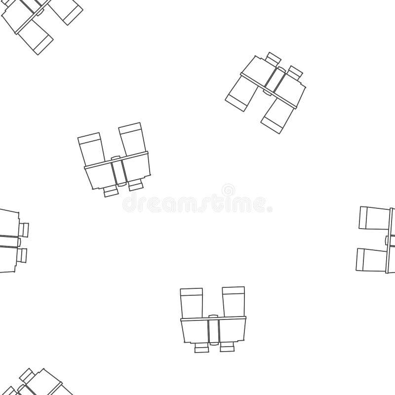 De pictogrammen van lijnverrekijkers Vector naadloos grafisch patroon op een witte achtergrond royalty-vrije illustratie