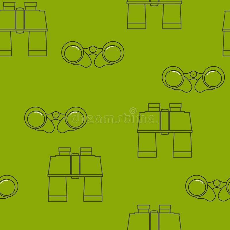 De pictogrammen van lijnverrekijkers Vector naadloos grafisch patroon op olijfachtergrond vector illustratie