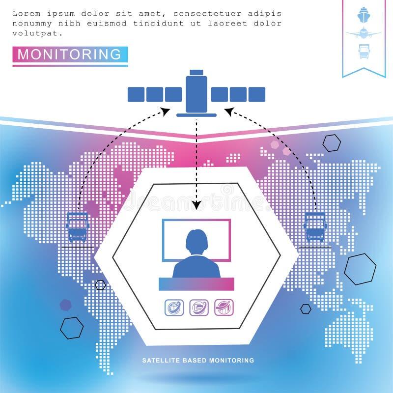 De pictogrammen van de logistiek De blauwe roze achtergrond van de wereldkaart Vervoertelematica royalty-vrije illustratie