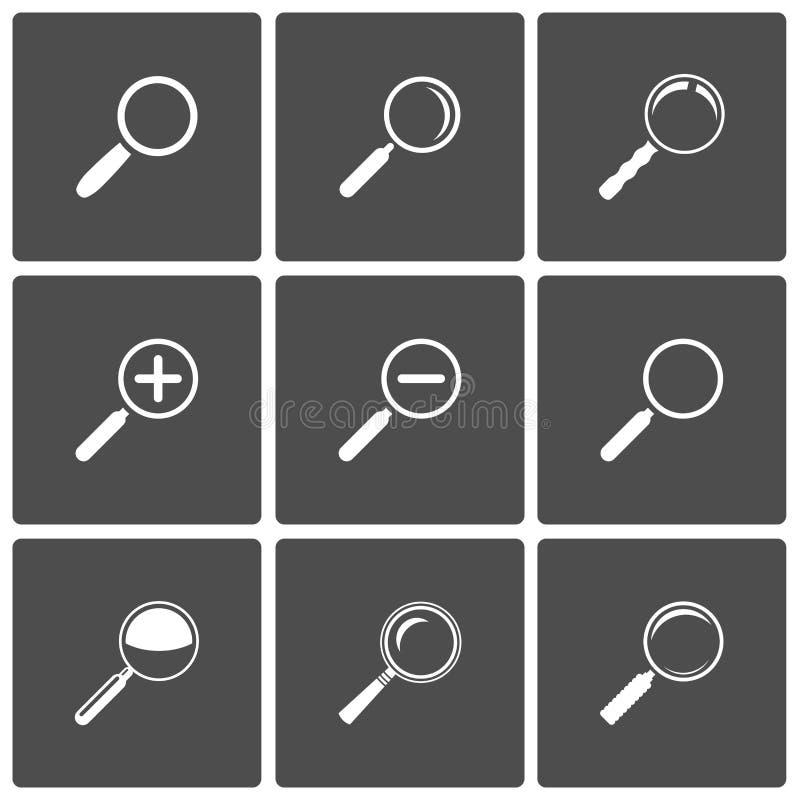 De Pictogrammen van Magnifier en van het Gezoem vector illustratie