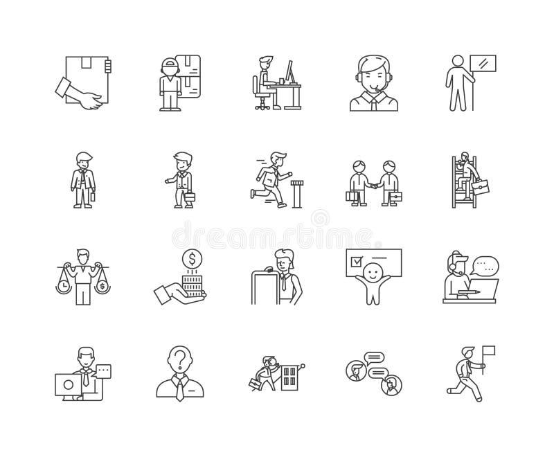 De pictogrammen van de makelaarslijn, tekens, vectorreeks, het concept van de overzichtsillustratie vector illustratie