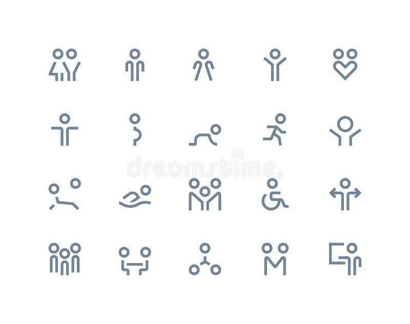 De pictogrammen van mensen Lijnreeks royalty-vrije illustratie