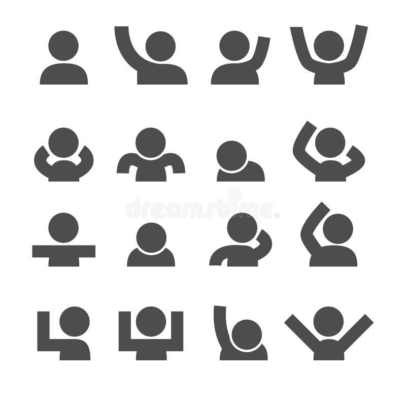 De pictogrammen van mensen Stemming en Gebaarconcept Glyph en van de overzichtenslag pictogrammenthema Vector de inzamelingsreeks stock illustratie