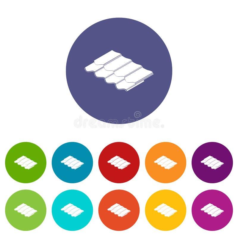 De pictogrammen van de metaaltegel geplaatst vectorkleur stock illustratie