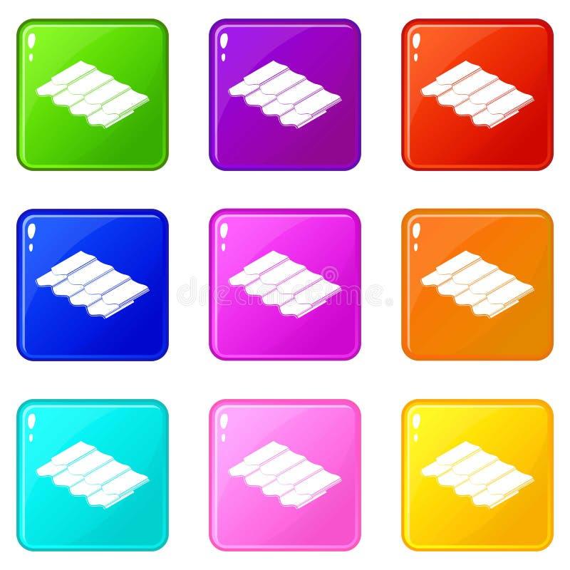 De pictogrammen van de metaaltegel plaatsen 9 kleureninzameling stock illustratie