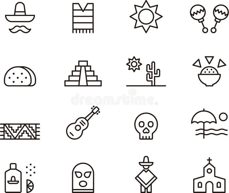 De pictogrammen van Mexico royalty-vrije illustratie