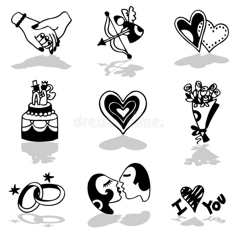 De pictogrammen van minnaars stock illustratie