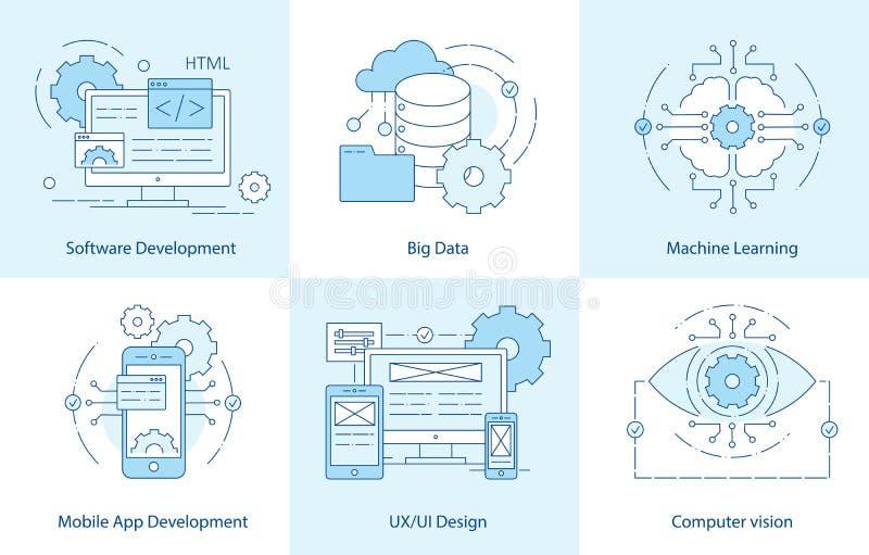 De pictogrammen van de mobiele toepassinglijn Software-ontwikkelingpictogram voor Webontwerp E Computervisie, Machine royalty-vrije illustratie