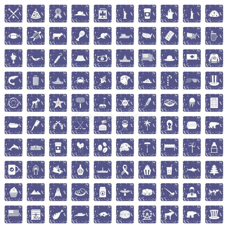 Download 100 De Pictogrammen Van Noord-Amerika Geplaatst Grunge Saffier Vector Illustratie - Illustratie bestaande uit meet, dolfijn: 107709088