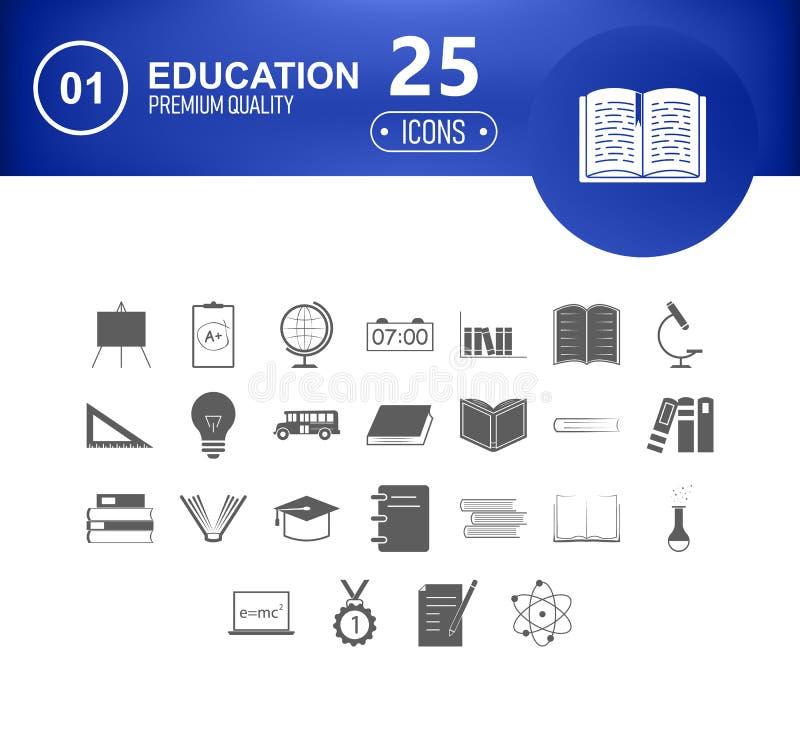 De Pictogrammen van de onderwijslijn Vectordie het leren en schoolpictogram met editable slag wordt geplaatst vector illustratie