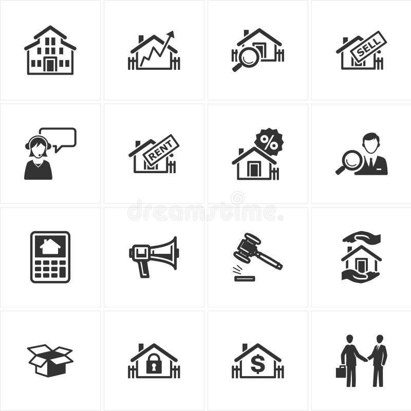 De Pictogrammen van onroerende goederen stock illustratie