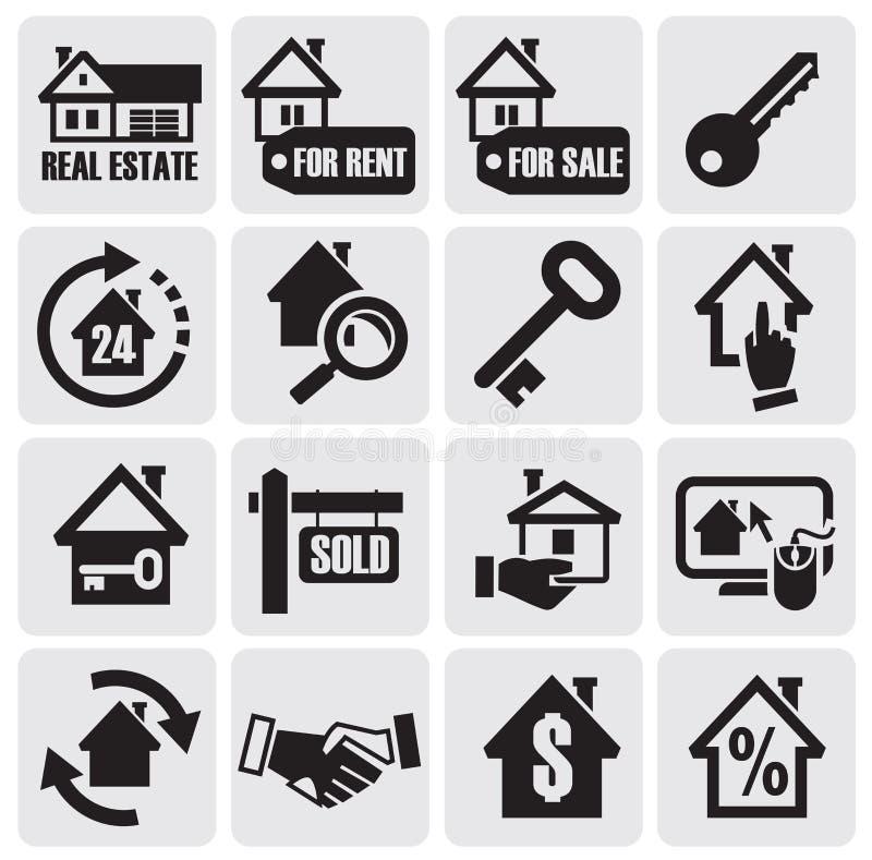 De pictogrammen van onroerende goederen. royalty-vrije illustratie