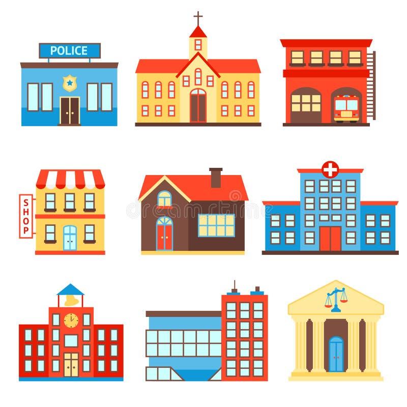 De pictogrammen van overheidsgebouwen stock illustratie