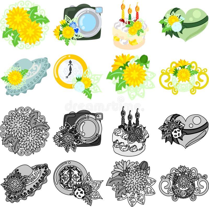 De pictogrammen van paardebloem vector illustratie