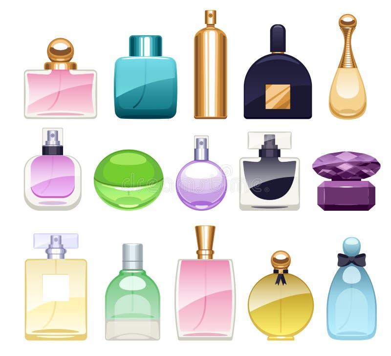 De pictogrammen van parfumflessen geplaatst vectorillustratie Eau DE parfum royalty-vrije illustratie