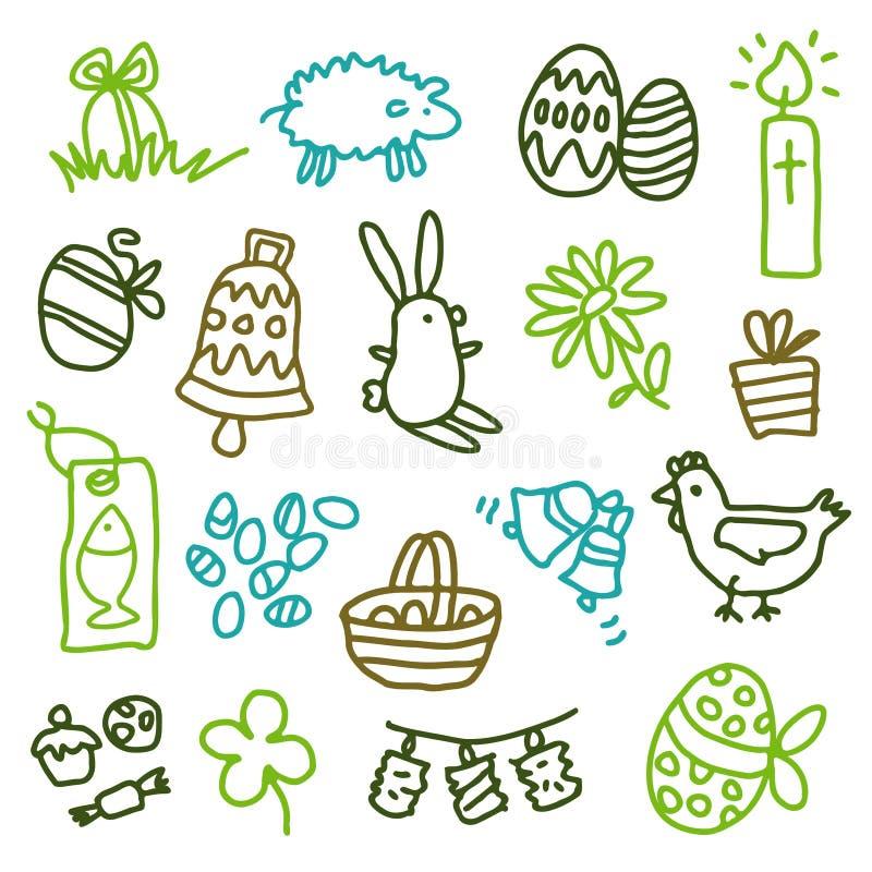 De pictogrammen van Pasen royalty-vrije illustratie