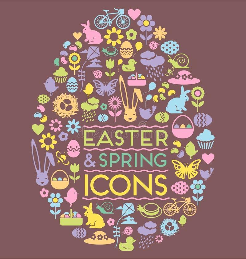 De pictogrammen van Pasen en van de lente in een eivorm stock illustratie