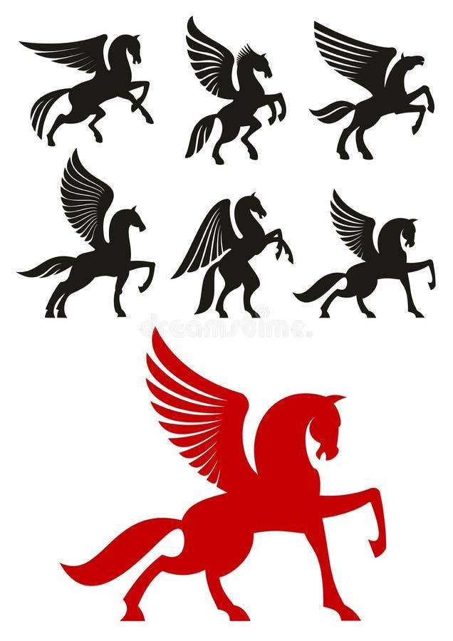 De pictogrammen van Pegasuspaarden voor heraldisch ontwerp royalty-vrije illustratie