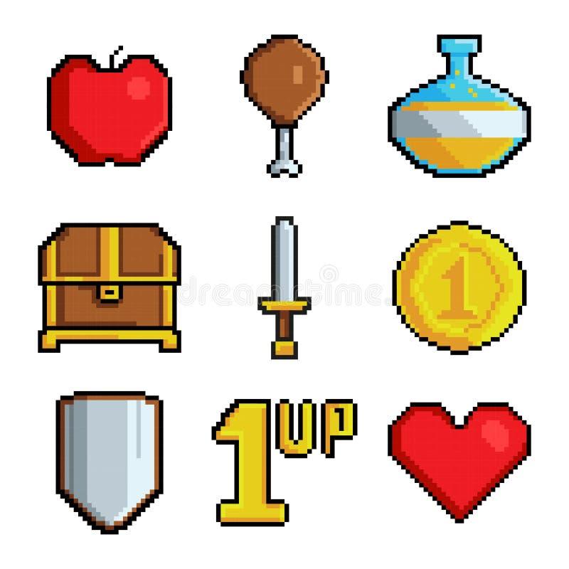De pictogrammen van pixelspelen Diverse gestileerde symbolen voor videospelletjes stock illustratie