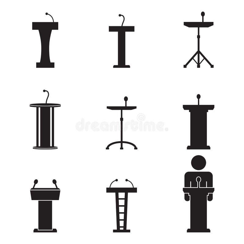De pictogrammen van podiumtribunes vector illustratie
