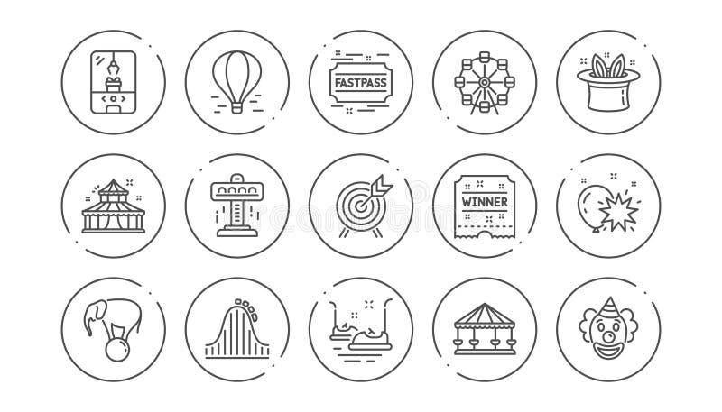 De pictogrammen van de pretparklijn Carrousel, Achtbaan en Circus Lineaire Pictogramreeks Vector vector illustratie