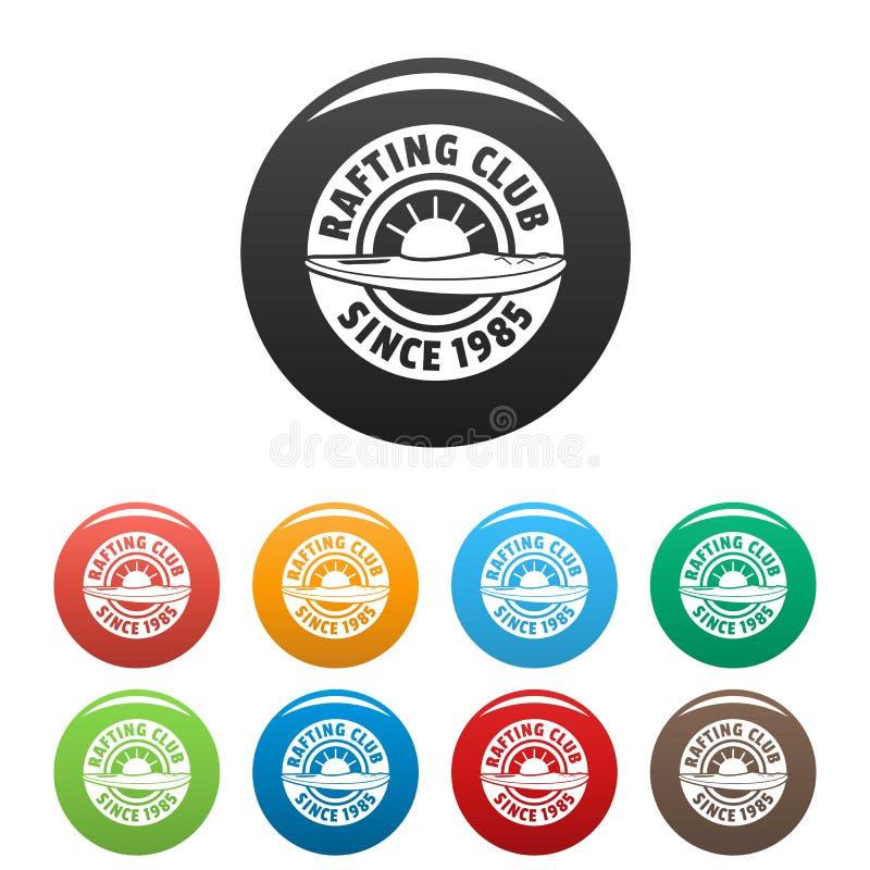De pictogrammen van de Raftingsclub geplaatst kleur stock illustratie