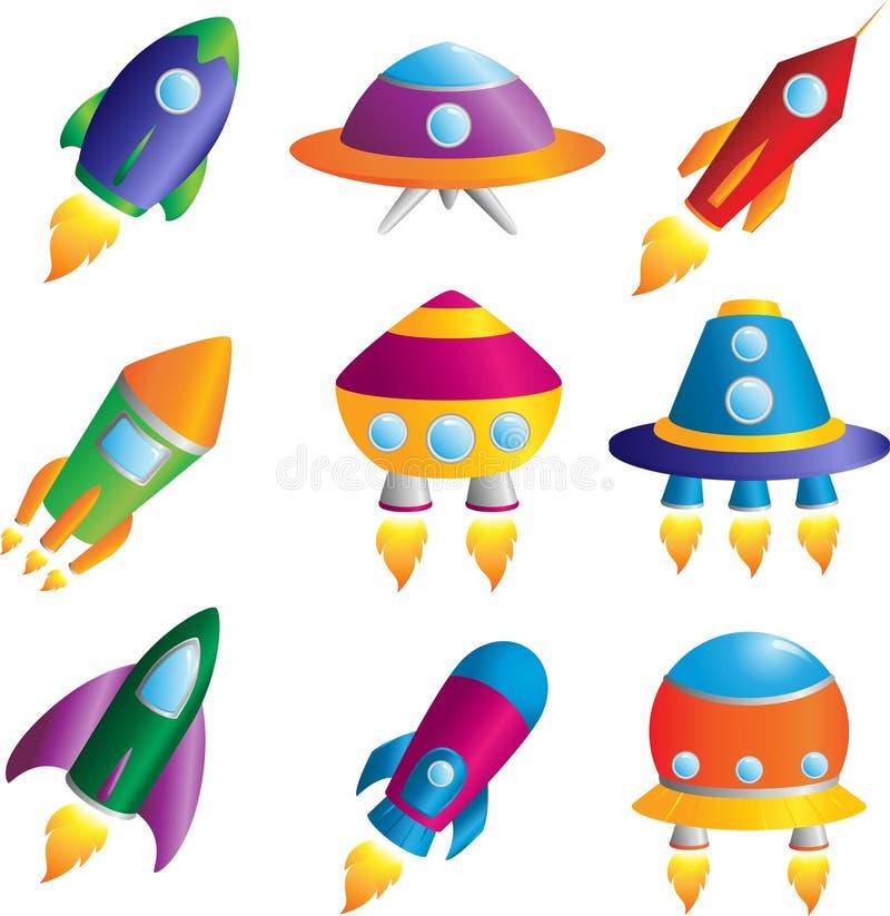 De pictogrammen van raketten vector illustratie