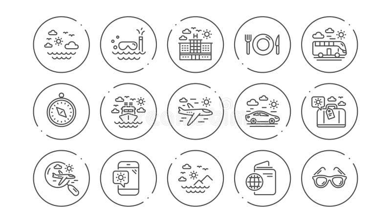 De Pictogrammen van de reislijn Paspoort, Bagage en Controle in luchthaven Lineaire Pictogramreeks Vector royalty-vrije illustratie