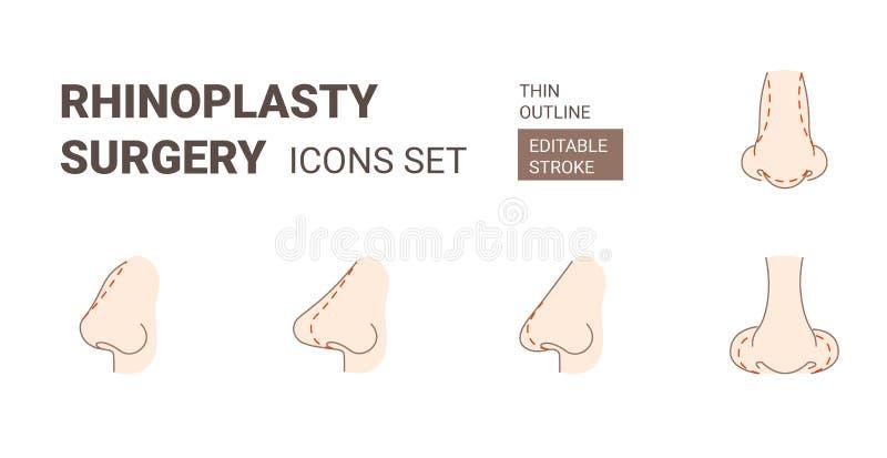 De pictogrammen van de Rhinoplasyplastische chirurgie met editable slag worden geplaatst die stock illustratie