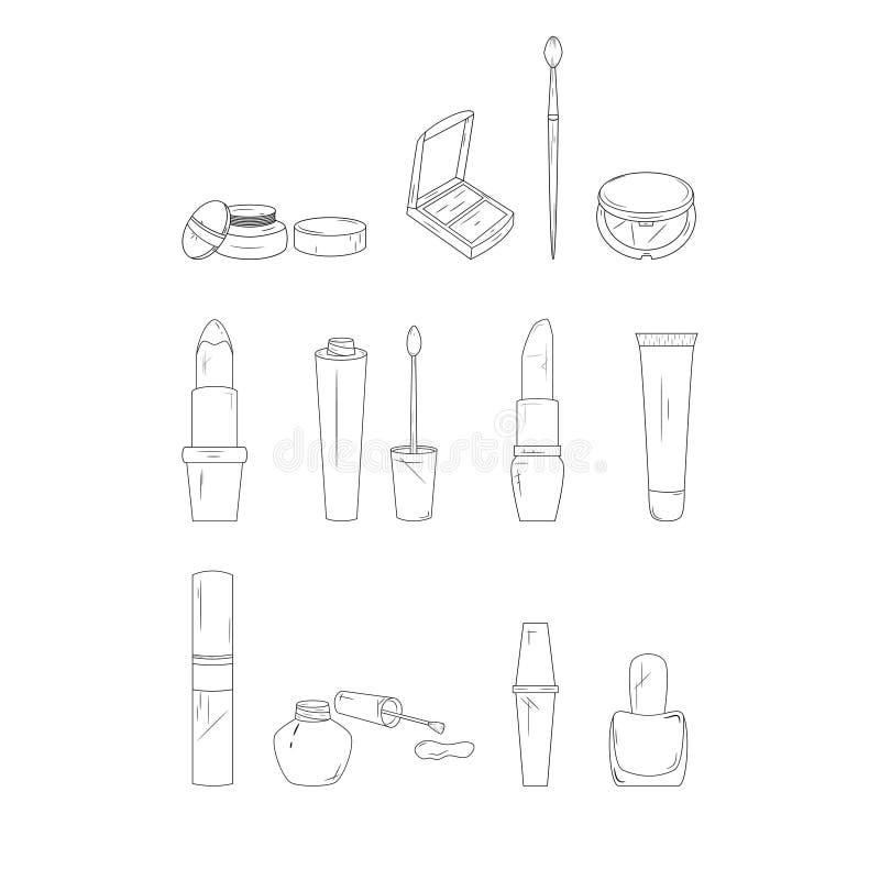 De pictogrammen van de samenstellingslijn Eenvoudige Reeks Schoonheidsmiddelen Vector illustratie stock illustratie