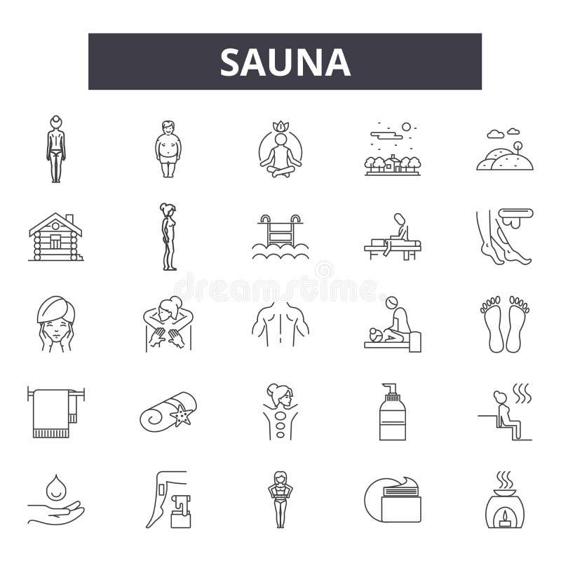 De pictogrammen van de saunalijn, tekens, vectorreeks, lineair concept, overzichtsillustratie royalty-vrije illustratie