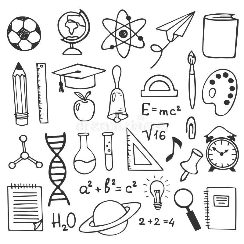 De pictogrammen van de de schetstekening van het schoolonderwijs De hand getrokken illustratie van onderwijselementen Wetenschap, royalty-vrije illustratie