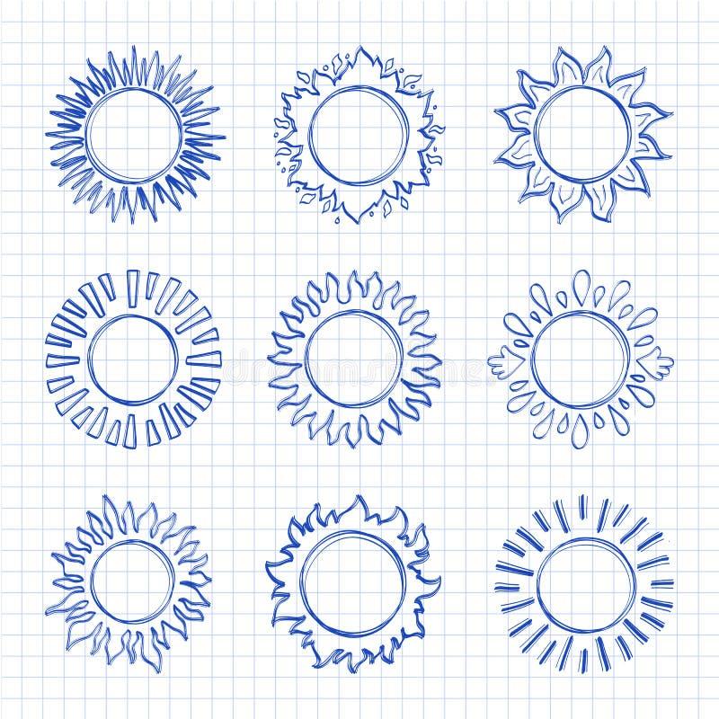 De pictogrammen van de schetszon, Hand getrokken zonneschijnsymbolen Leuke krabbelzonnen royalty-vrije illustratie