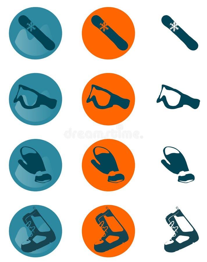 De pictogrammen van Snowboard royalty-vrije stock fotografie
