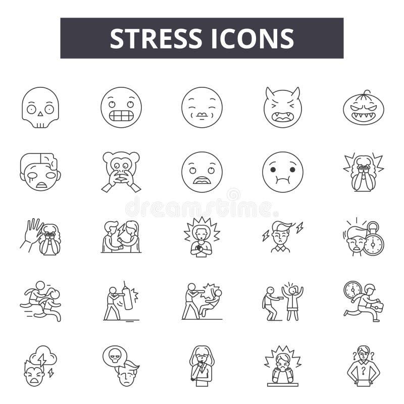De pictogrammen van de spanningslijn, tekens, vectorreeks, het concept van de overzichtsillustratie royalty-vrije illustratie
