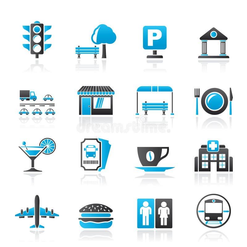 De pictogrammen van stedelijke en stadselementen royalty-vrije illustratie
