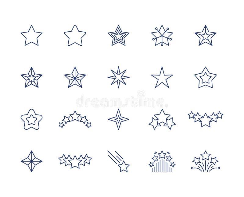 De pictogrammen van de sterlijn Geplaatste de symbolen van de premiefonkeling, dalende vallende sterrenfavoriet of zoals pictogra vector illustratie