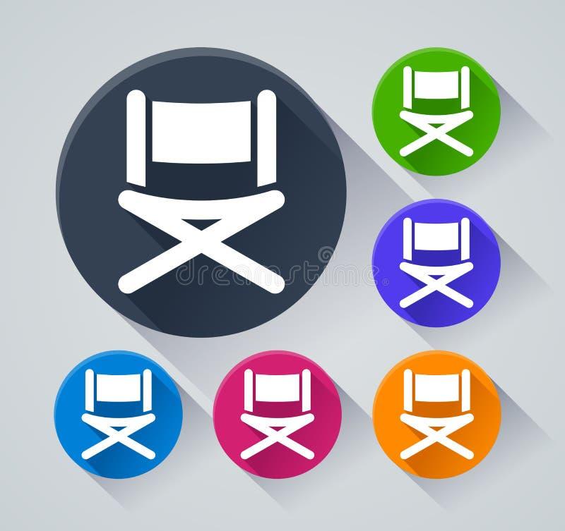 De pictogrammen van de stoelcirkel met schaduw vector illustratie