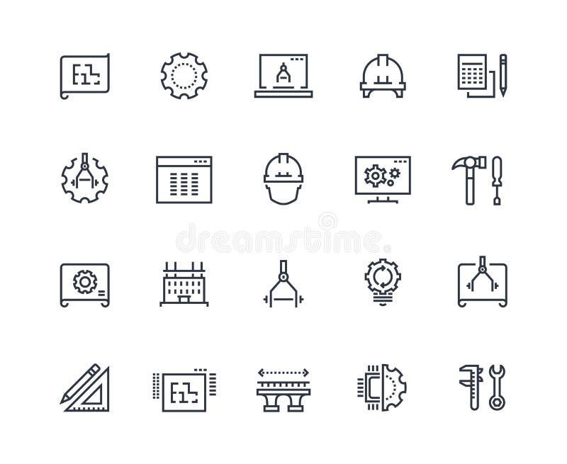 De pictogrammen van de technieklijn Het werkproject, mechanische en elektrotechniek Het meten, ontwikkeling en productie royalty-vrije illustratie