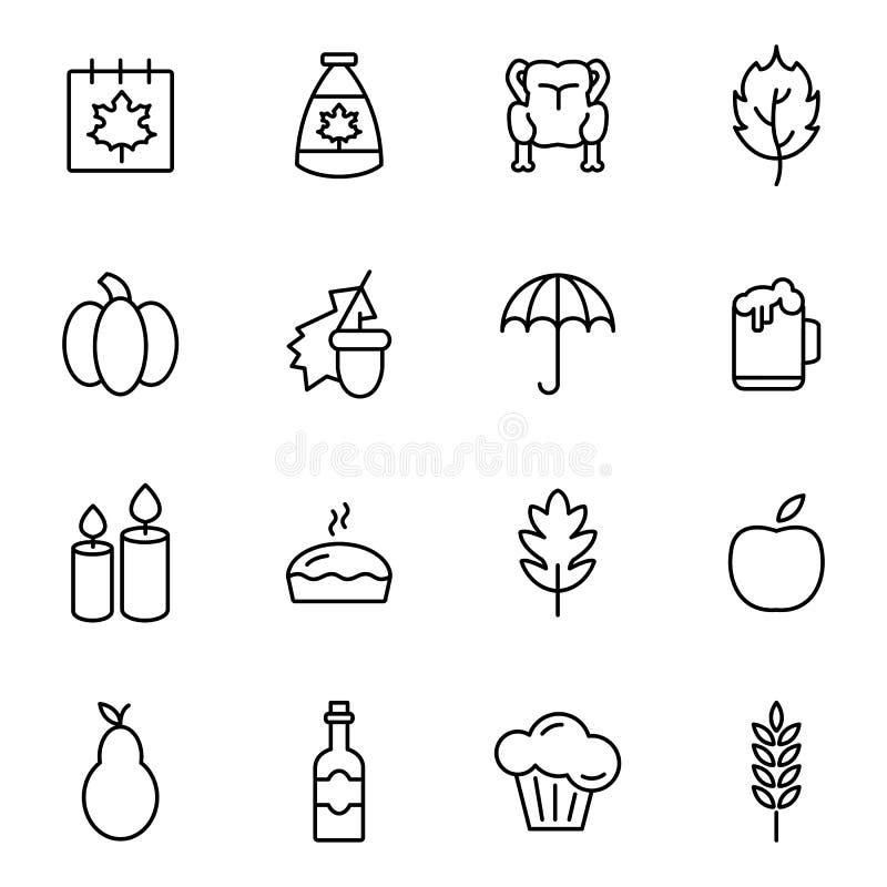 De Pictogrammen van de thanksgiving dayvakantie stock illustratie