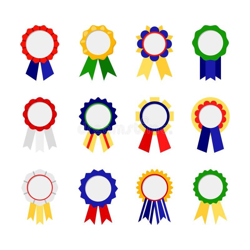 De pictogrammen van toekenningslinten Goede kleurrijke de beloningen vectorreeks van het rangenlint vector illustratie