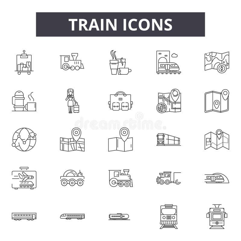 De pictogrammen van de treinlijn, tekens, vectorreeks, lineair concept, overzichtsillustratie royalty-vrije illustratie