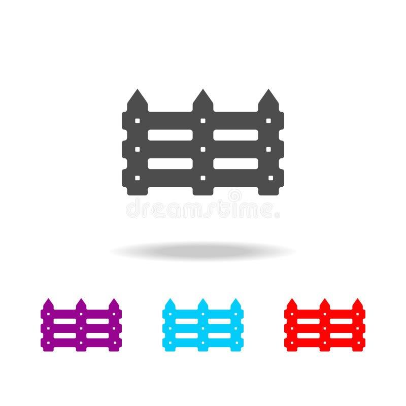 de pictogrammen van de tuinomheining Elementen van snel voedsel in multi gekleurde pictogrammen Grafisch het ontwerppictogram van royalty-vrije illustratie