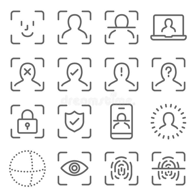 De pictogrammen van de Veiligheid van het Gezicht plaatsen vectorillustratie Bevat een pictogram zoals vingerafdrukscan, gezichts vector illustratie