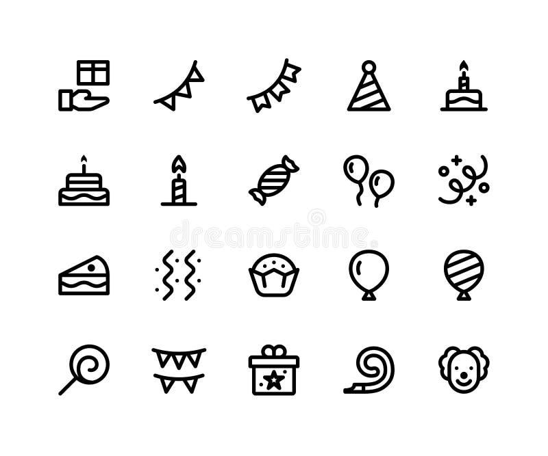 De pictogrammen van de verjaardagslijn vector illustratie