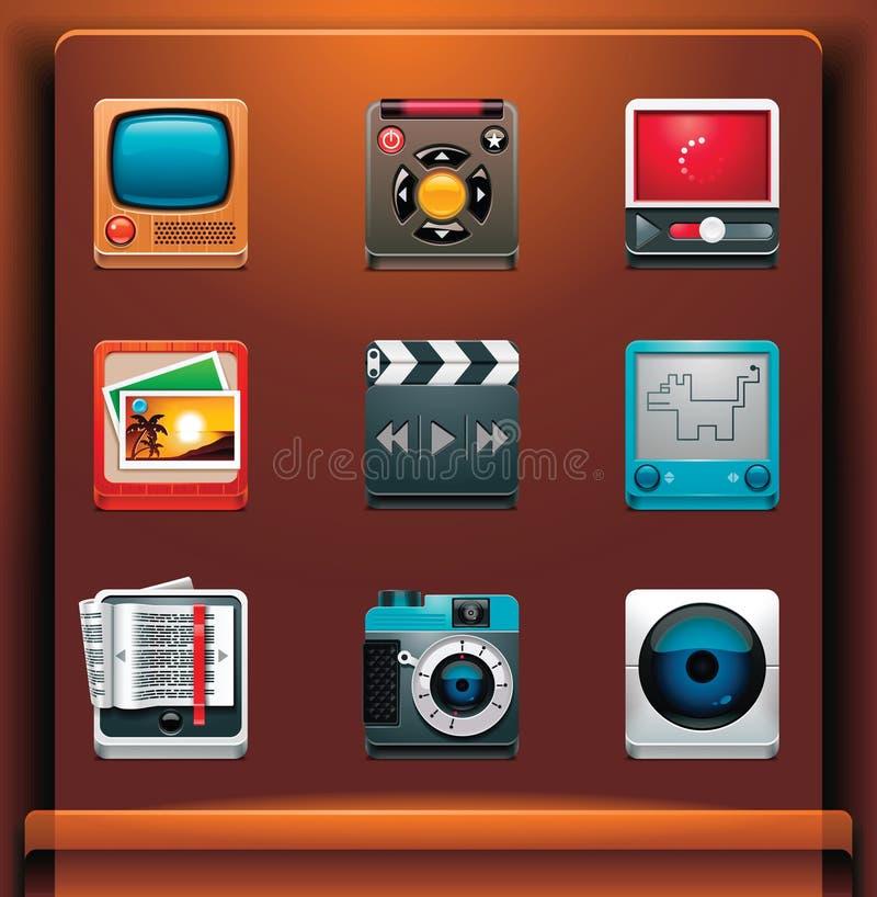 De pictogrammen van verschillende media