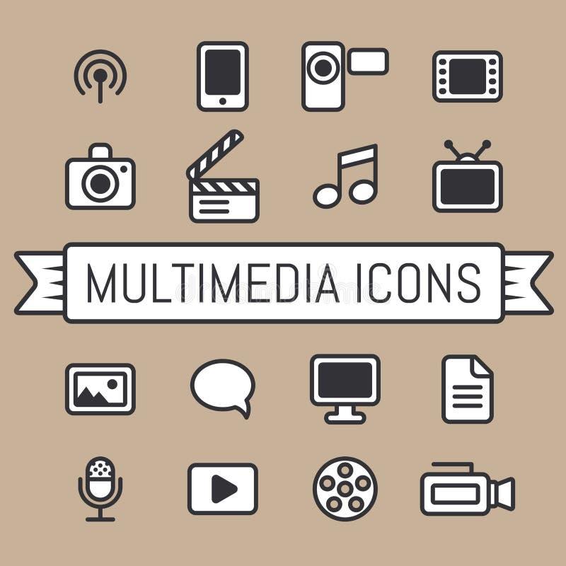 De Pictogrammen van verschillende media vector illustratie